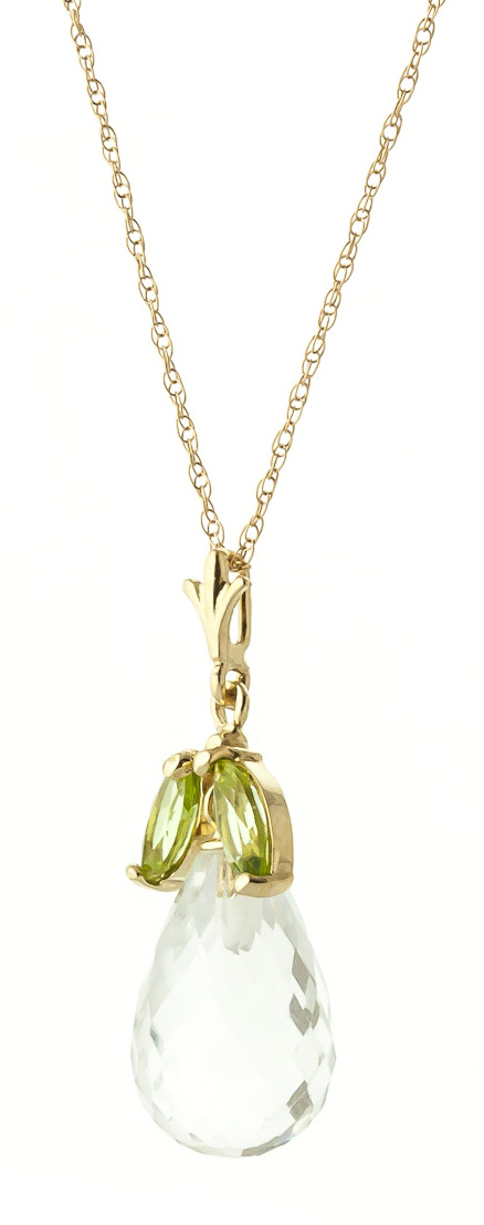White Topaz and Peridot Pendant Necklace 7.2ctw in 14K Gold