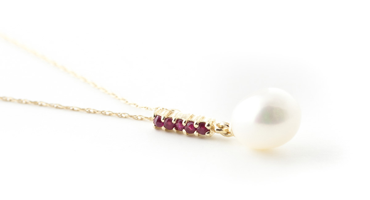 Pearl and Ruby Pendant Necklace 4.2ctw in 9ct Gold