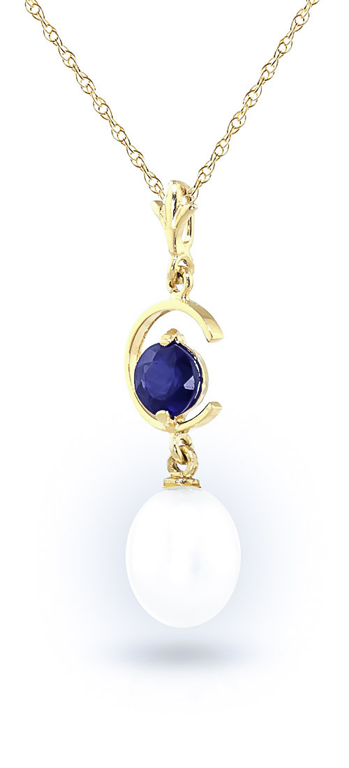 Pearl and Sapphire Pendant Necklace 4.5ctw in 14K Gold