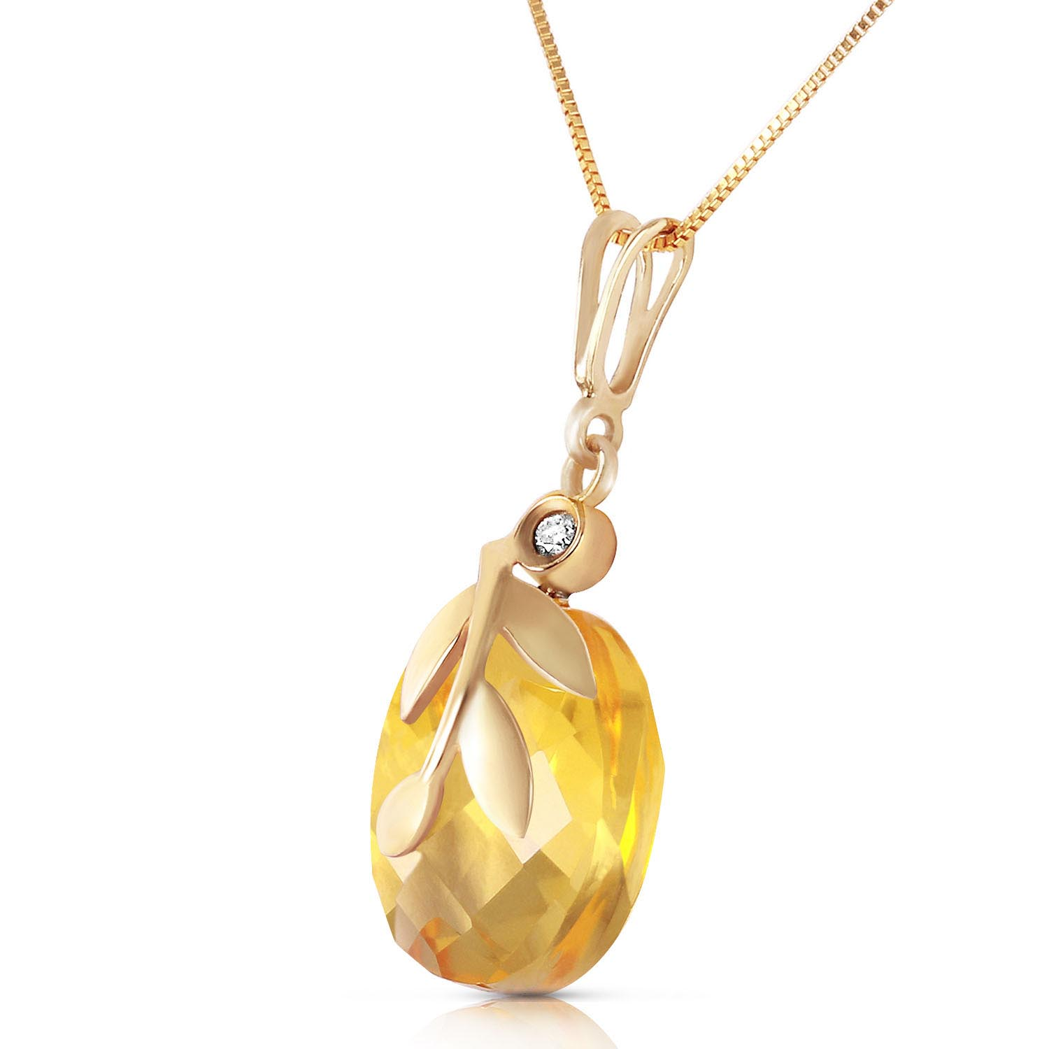 Citrine and Diamond Olive Leaf Chequer Pendant Necklace 5.3ct in 14K Gold