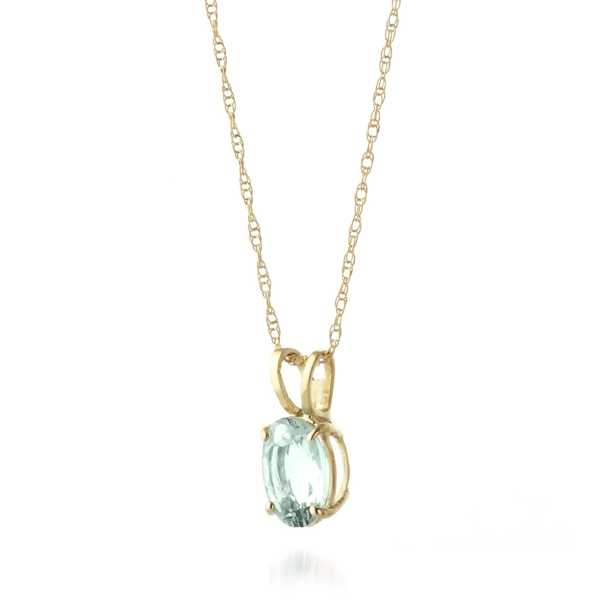 Oval Cut Aquamarine Pendant Necklace 0.75ct in 9ct Gold