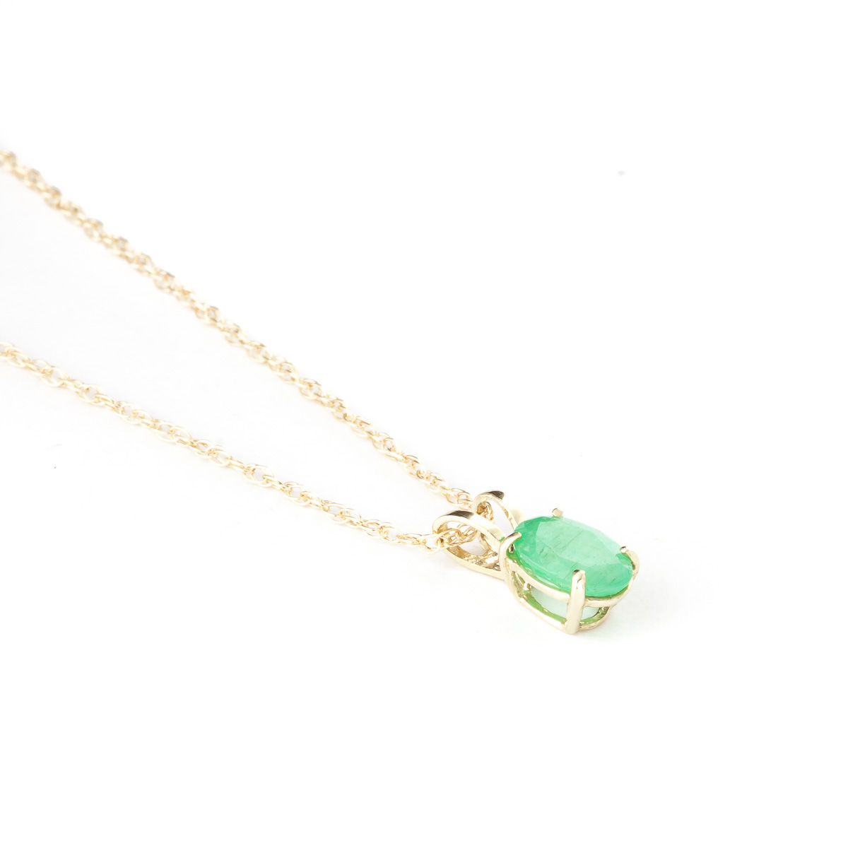 Oval Cut Emerald Pendant Necklace 0.75ct in 9ct Gold