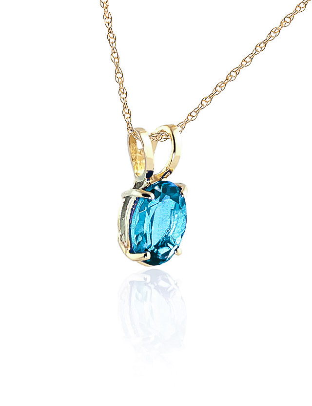 Oval Cut Blue Topaz Pendant Necklace 0.85ct in 9ct Gold