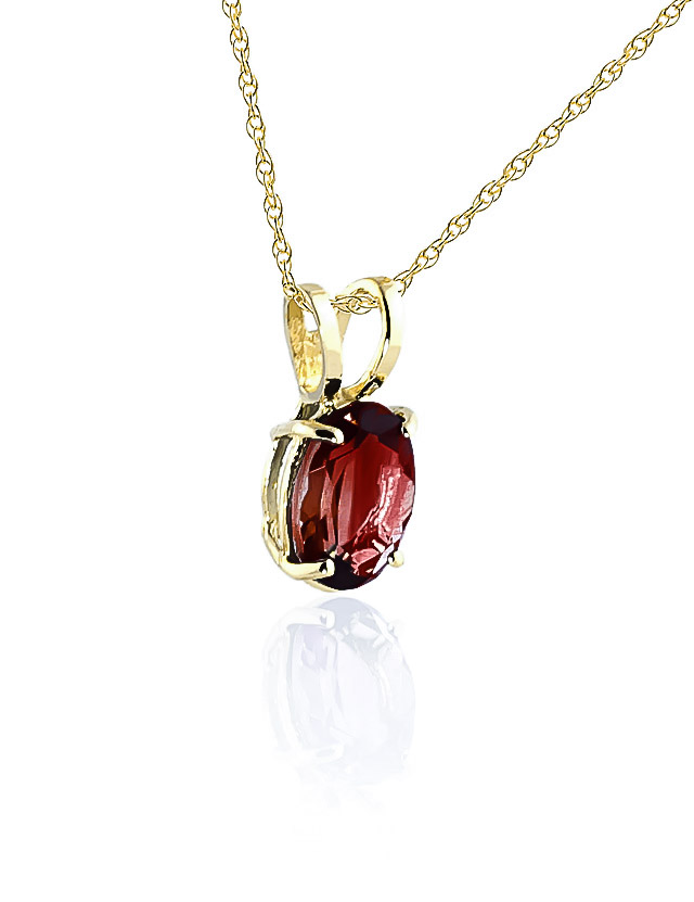 Oval Cut Garnet Pendant Necklace 0.85ct in 9ct Gold