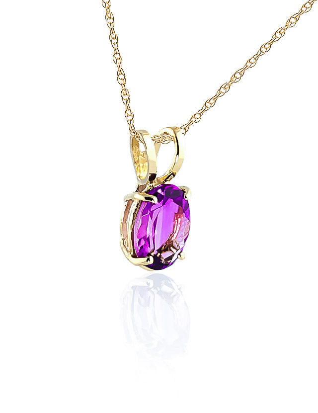 Oval Cut Pink Topaz Pendant Necklace 0.85ct in 14K Gold