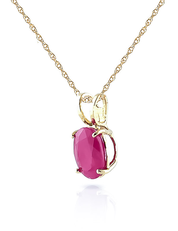 Oval Cut Ruby Pendant Necklace 1.0ct in 9ct Gold