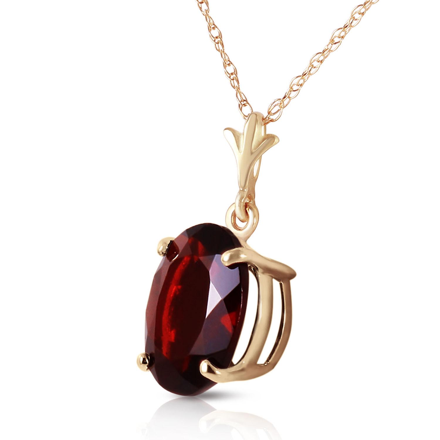 Oval Cut Garnet Pendant Necklace 3.12ct in 9ct Gold