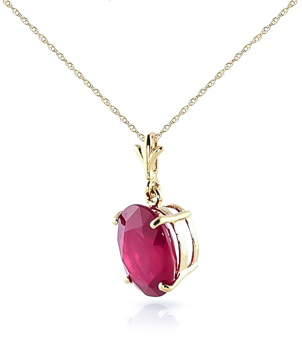 Oval Cut Ruby Pendant Necklace 3.5ct in 9ct Gold