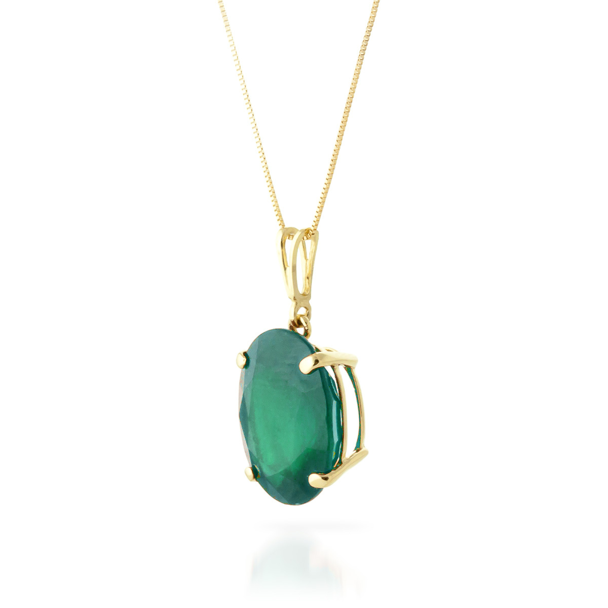 Oval Cut Emerald Pendant Necklace 6.5ct in 9ct Gold