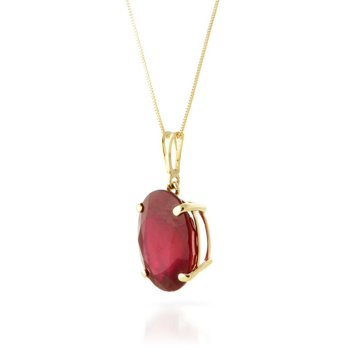 Oval Cut Ruby Pendant Necklace 7.7ct in 14K Gold