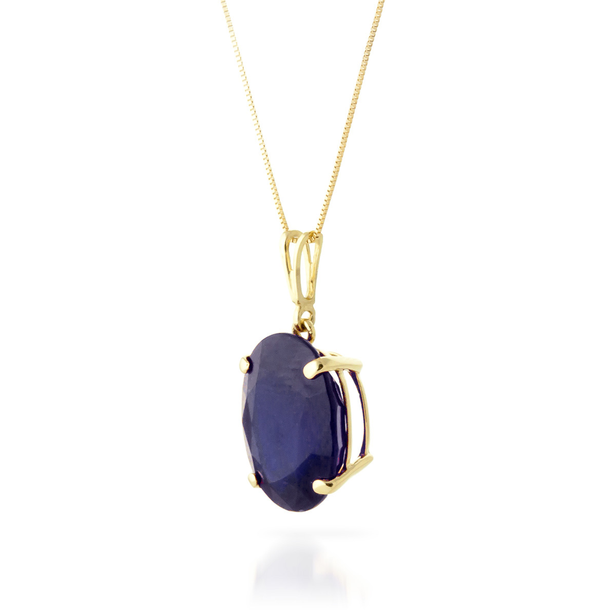 Oval Cut Sapphire Pendant Necklace 8.5ct in 9ct Gold