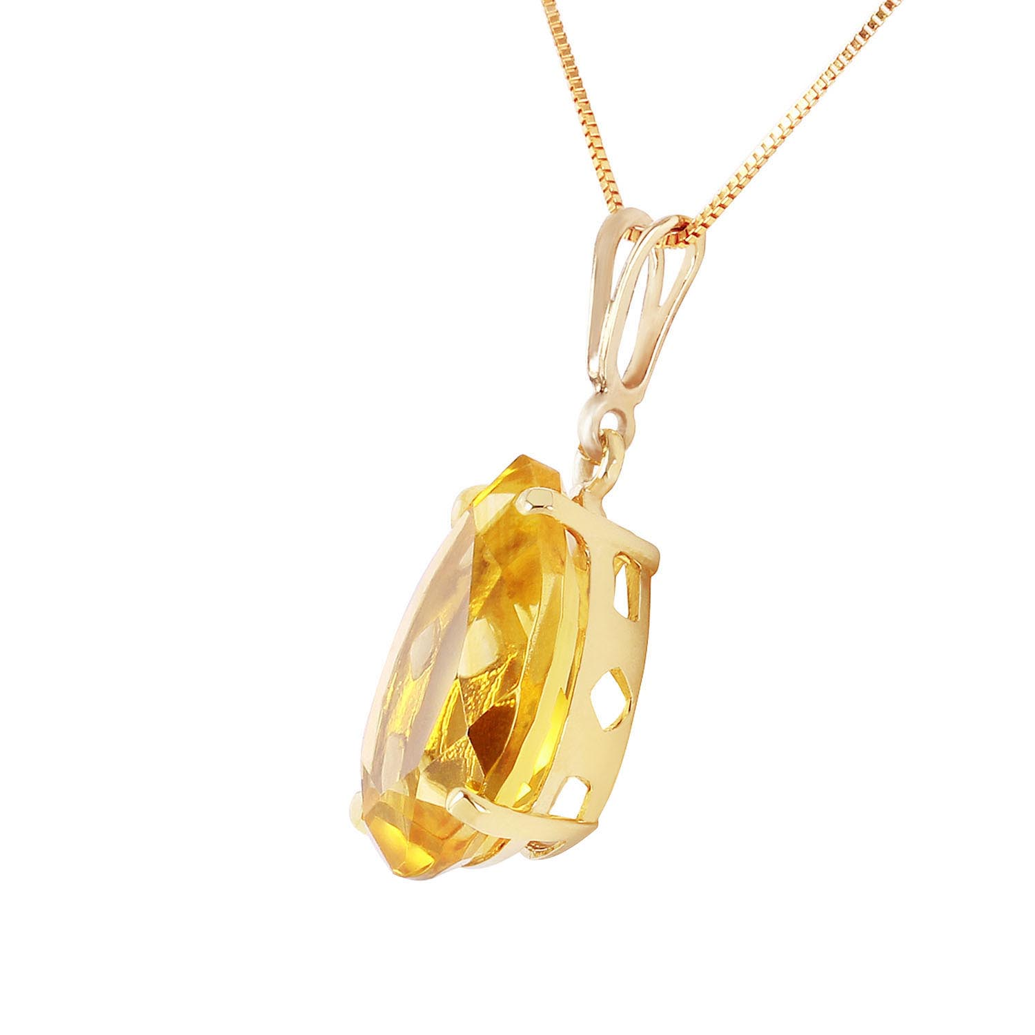 Pear Cut Citrine Pendant Necklace 5.0ct in 9ct Gold