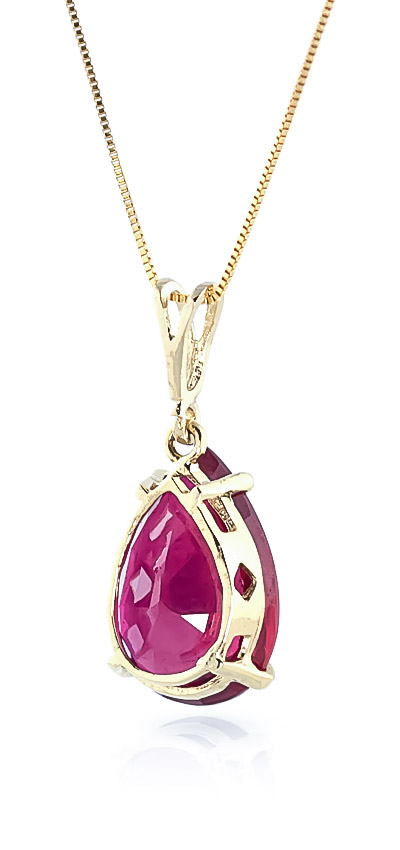 Pear Cut Ruby Pendant Necklace 5.0ct in 9ct Gold