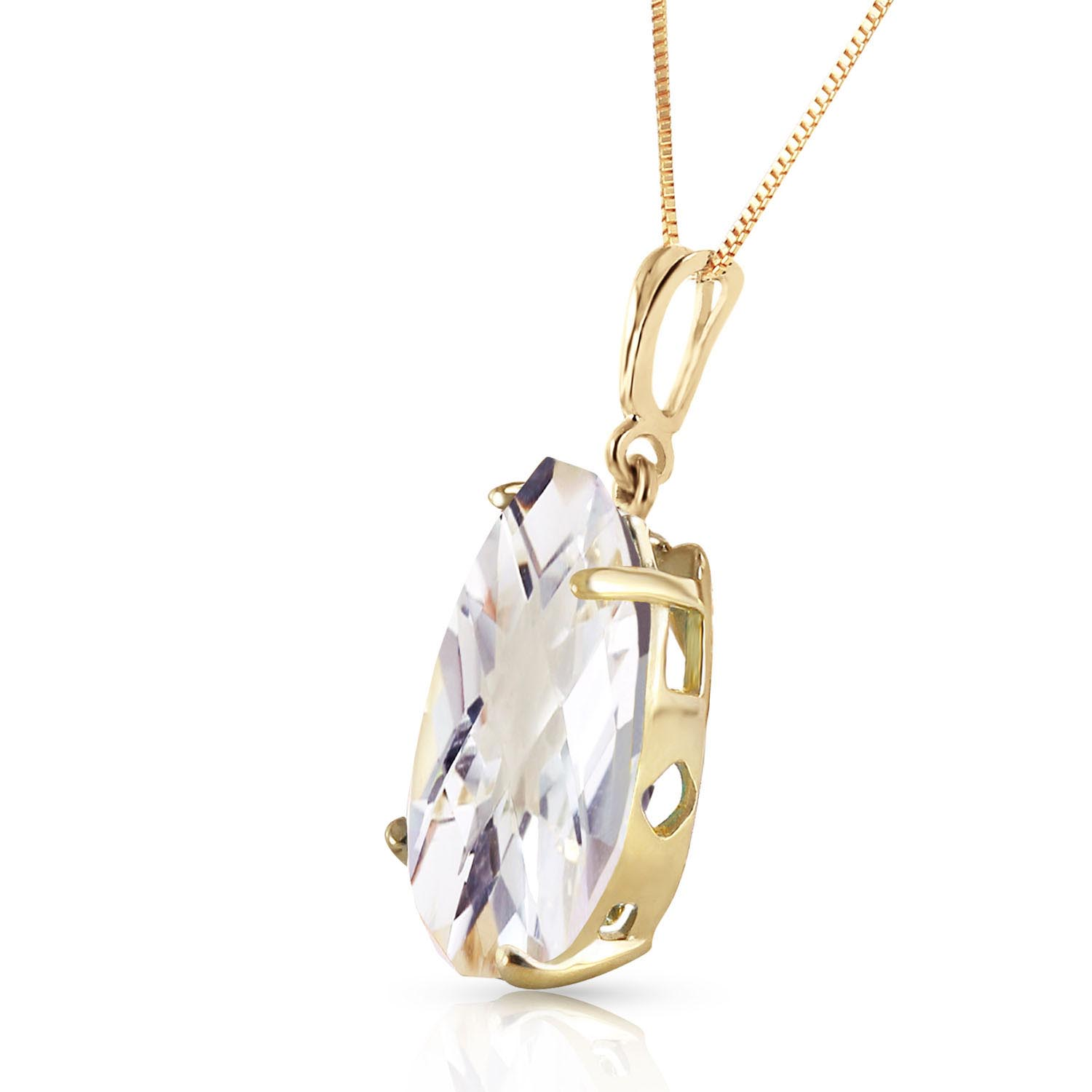 Pear Cut White Topaz Pendant Necklace 5.0ct in 9ct Gold