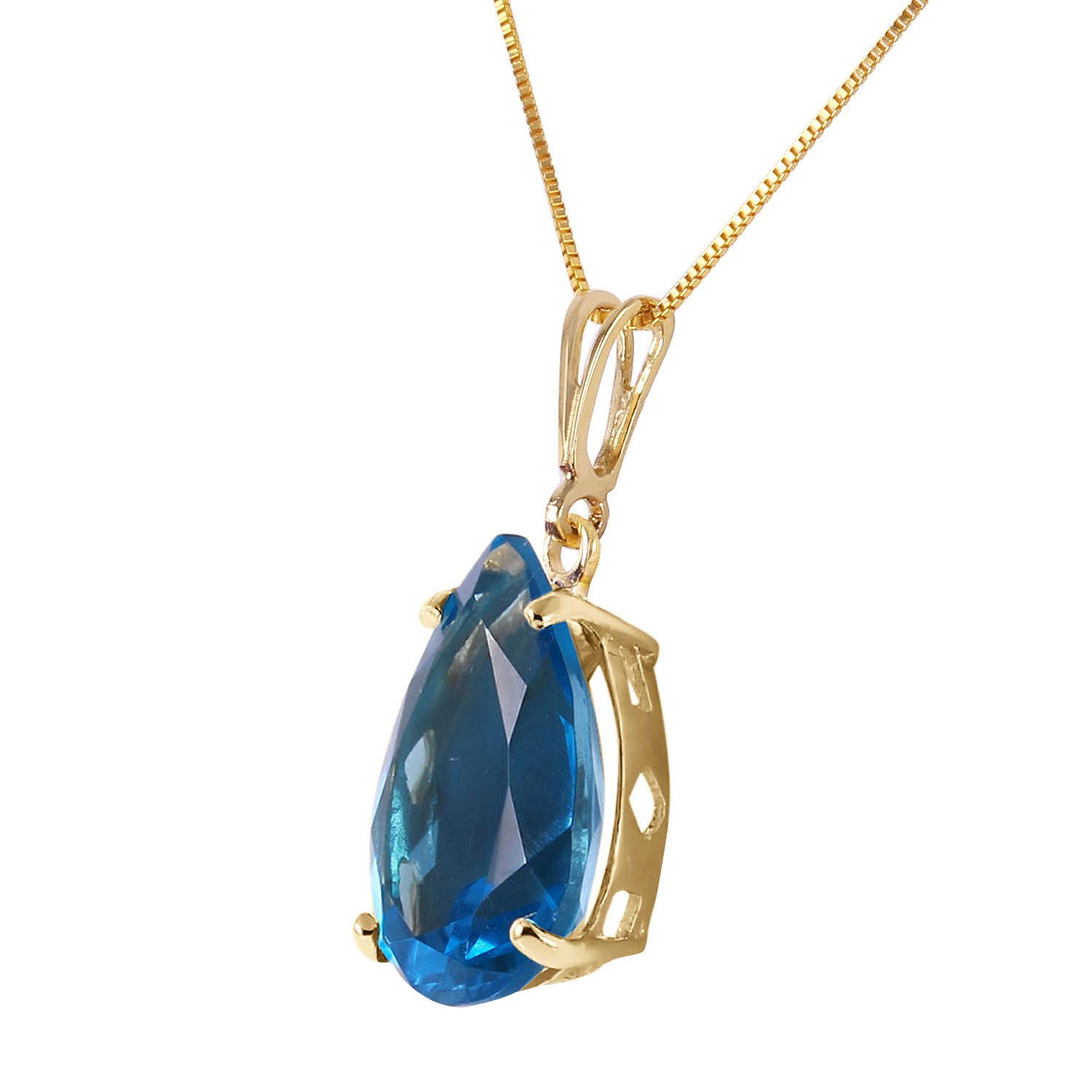 Pear Cut Blue Topaz Pendant Necklace 6.5ct in 9ct Gold