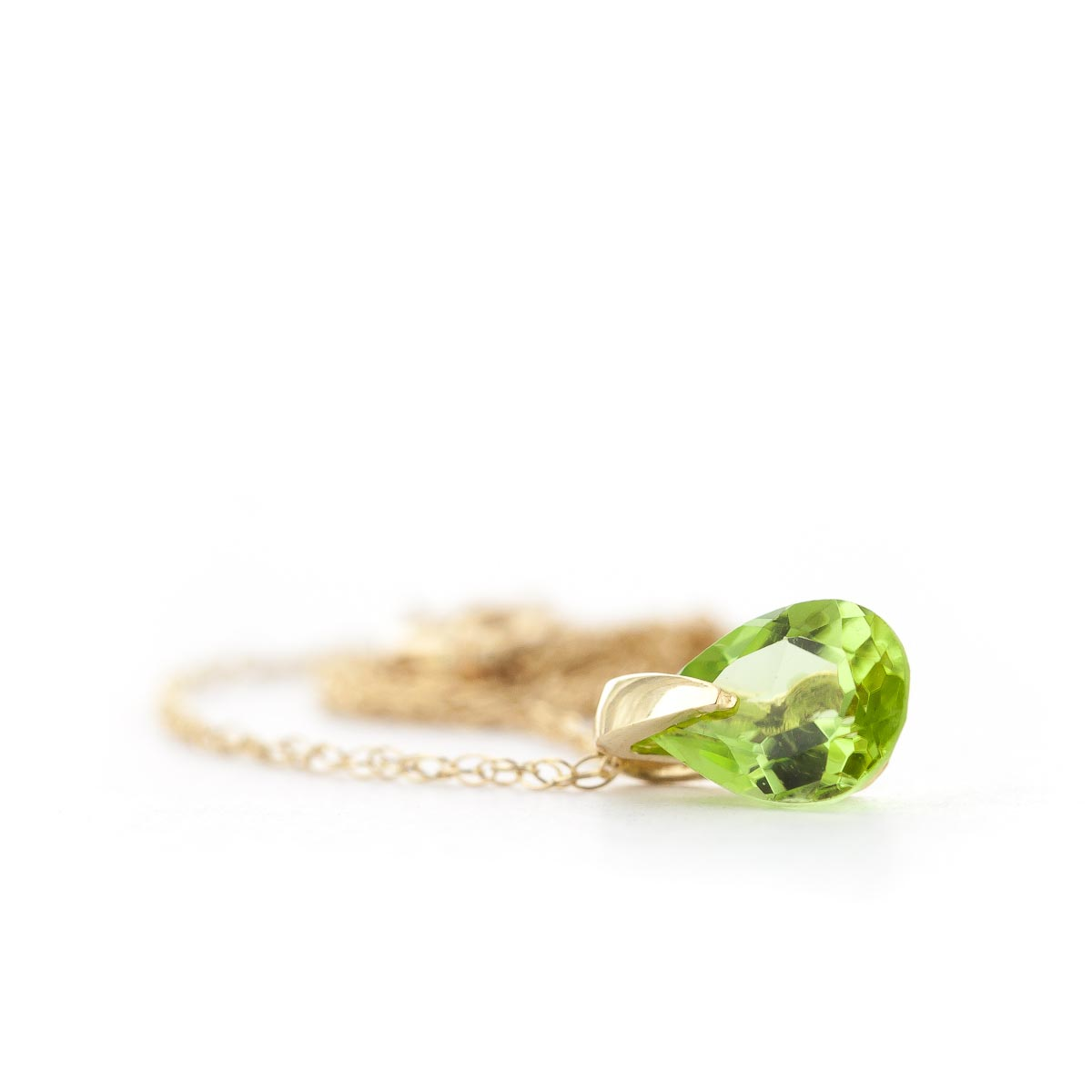 Pear Cut Peridot Pendant Necklace 0.68ct in 9ct Gold