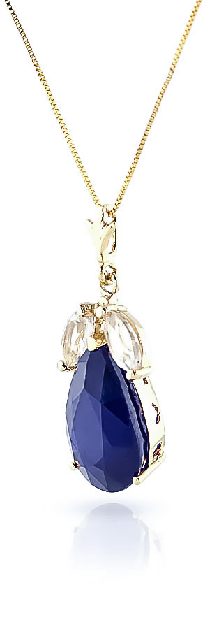Pear Cut Sapphire Pendant Necklace 4.65ct in 14K Gold