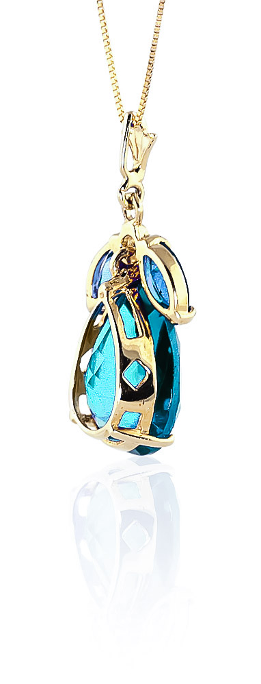 Pear Cut Blue Topaz Pendant Necklace 6.5ctw in 14K Gold