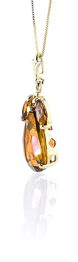 Pear Cut Citrine Pendant Necklace 6.5ctw in 14K Gold