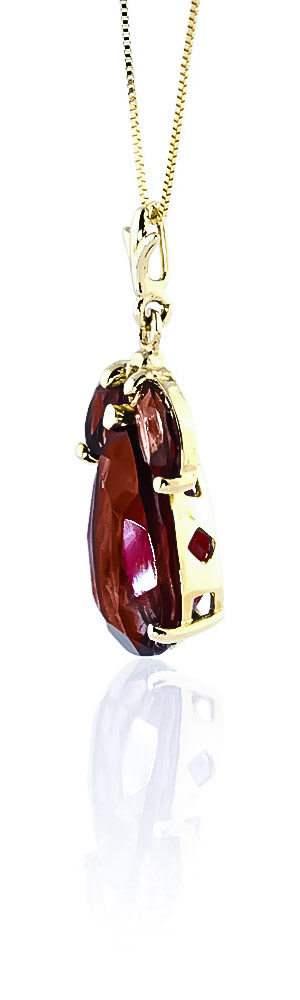 Pear Cut Garnet Pendant Necklace 6.5ctw in 9ct Gold