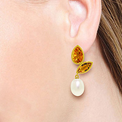 Citrine and Pearl Petal Drop Earrings 16.0ctw in 9ct Gold