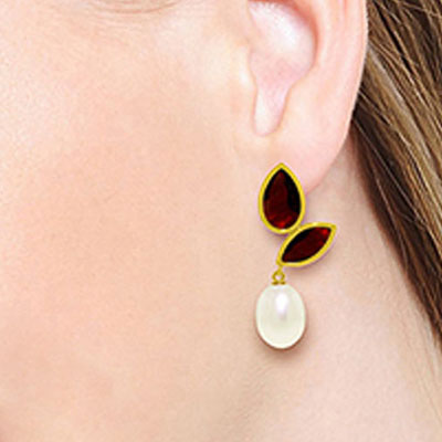 Garnet and Pearl Petal Drop Earrings 16.0ctw in 14K Gold