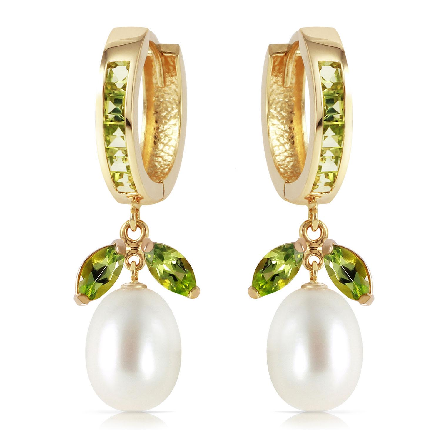 Peridot and Pearl Dewdrop Huggie Earrings 10.3ctw in 9ct Gold