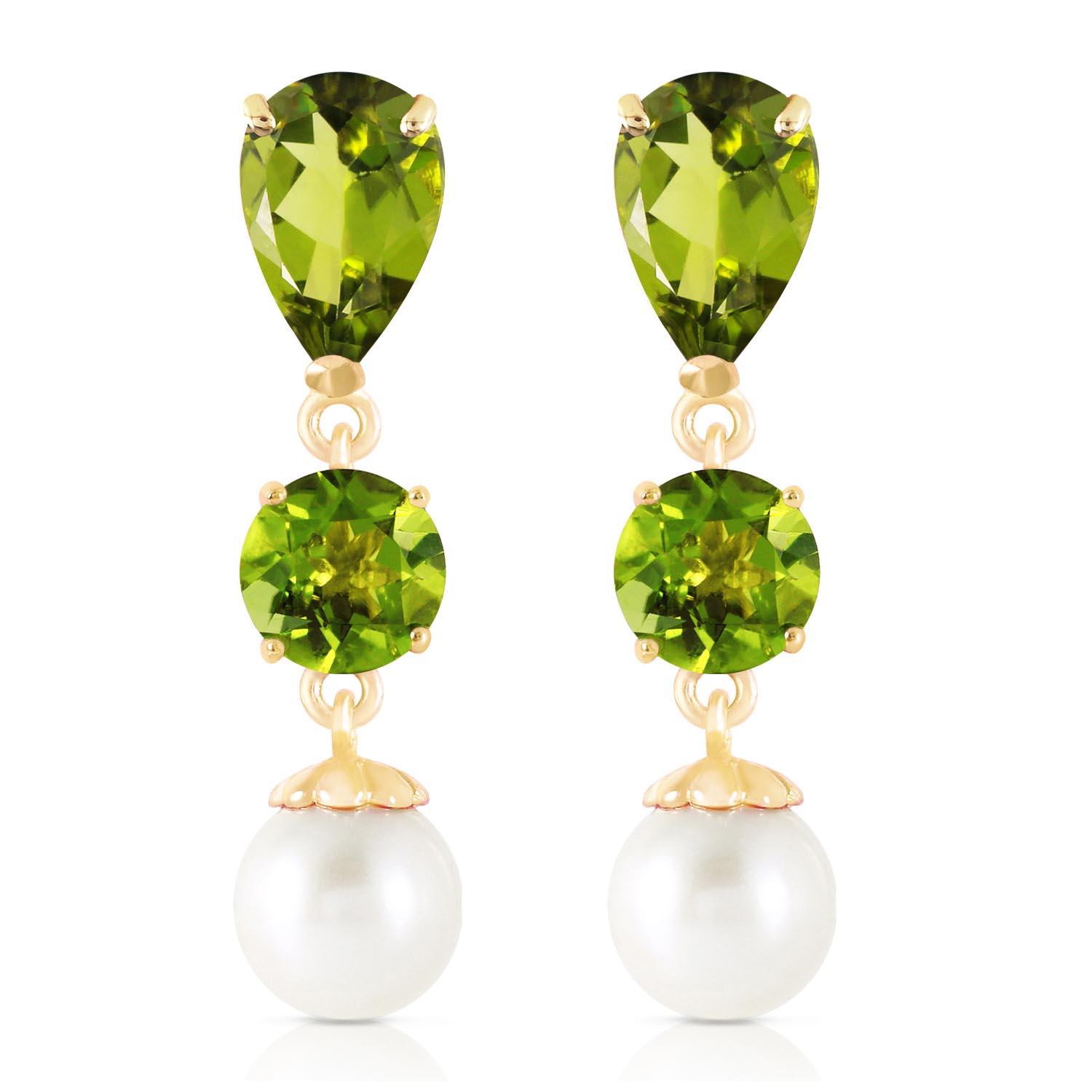 Peridot and Pearl Droplet Earrings 10.5ctw in 9ct Gold