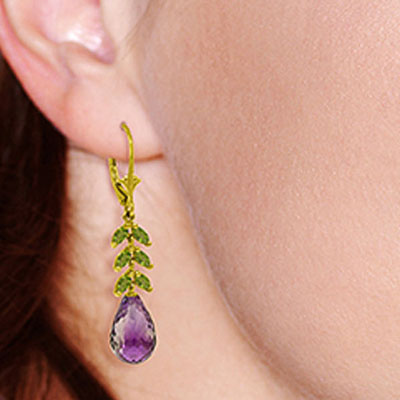 Amethyst and Peridot Drop Earrings 11.2ctw in 9ct Gold