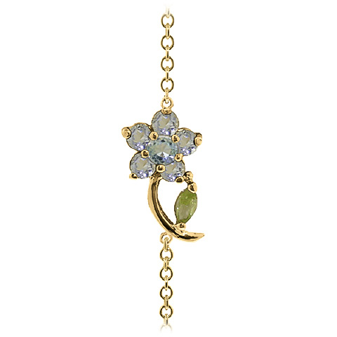 Aquamarine and Peridot Adjustable Flower Petal Bracelet 0.87ctw in 14K Gold