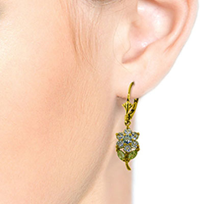 Aquamarine and Peridot Flower Petal Drop Earrings 2.12ctw in 9ct Gold