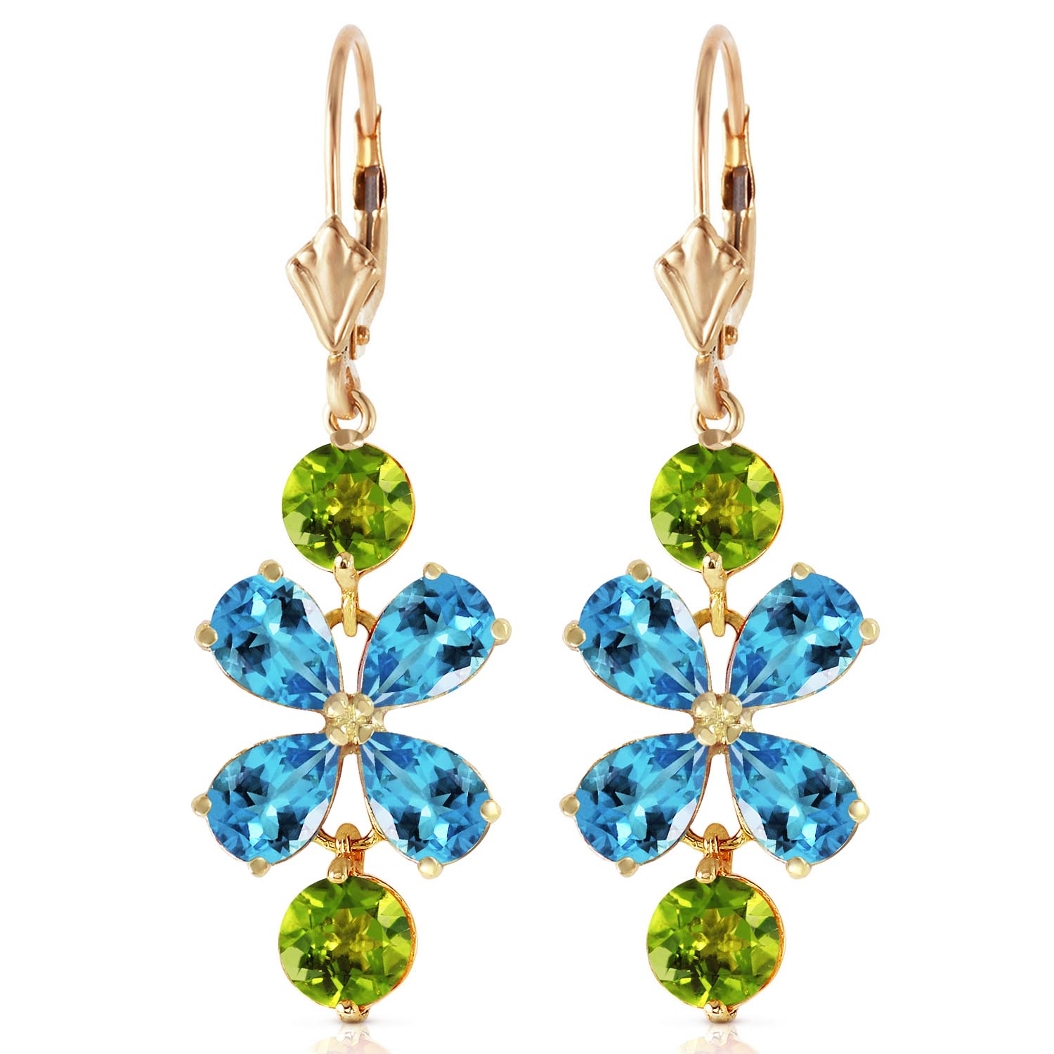 Blue Topaz and Peridot Blossom Drop Earrings 5.32ctw in 14K Gold
