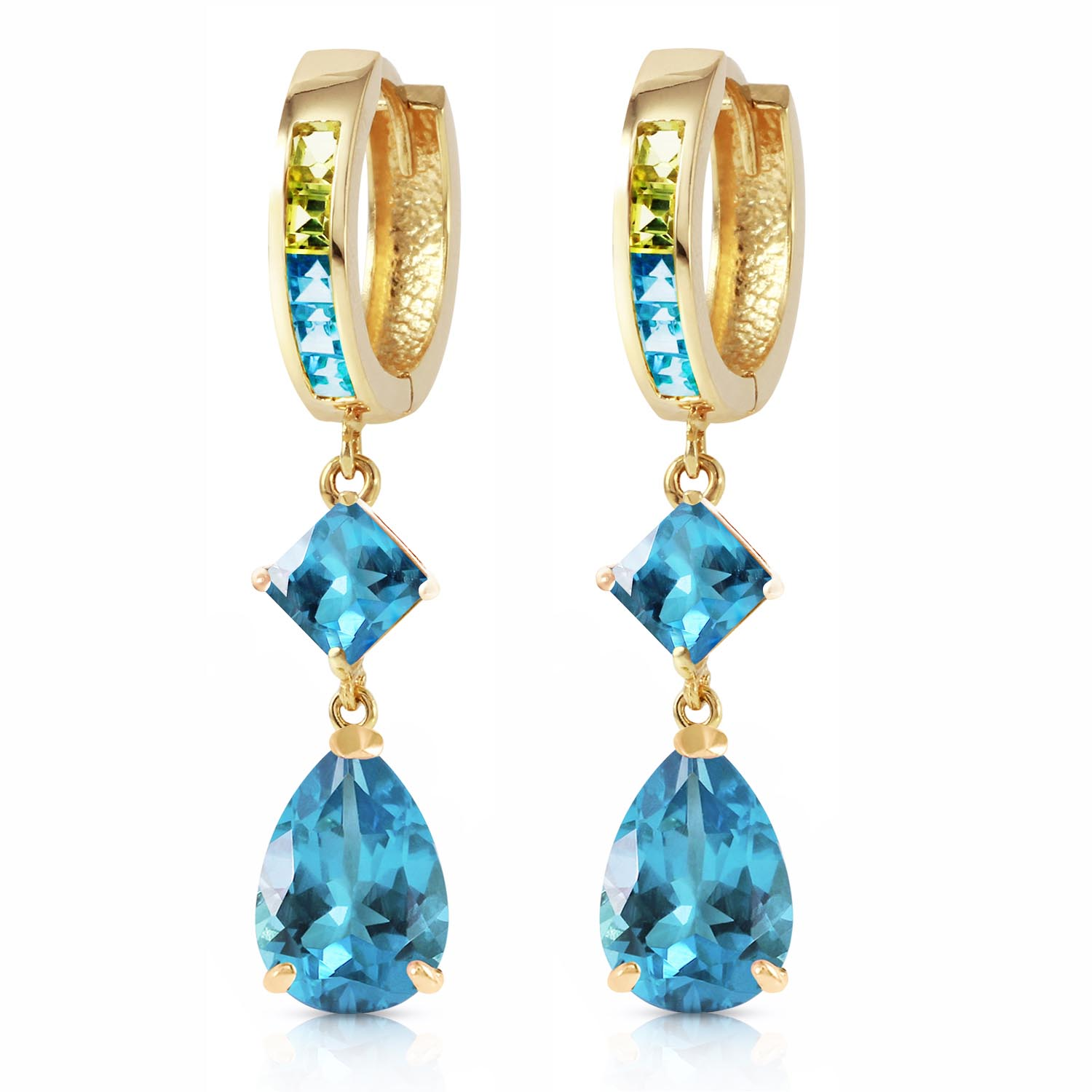 Blue Topaz and Peridot Huggie Earrings 5.37ctw in 9ct Gold