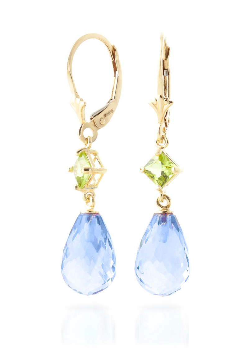Blue Topaz and Peridot Drop Earrings 11.0ctw in 9ct Gold