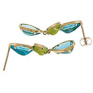 Blue Topaz and Peridot Petal Drop Earrings 13.6ctw in 9ct Gold
