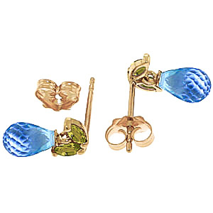 Blue Topaz and Peridot Snowdrop Stud Earrings 3.4ctw in 9ct Gold