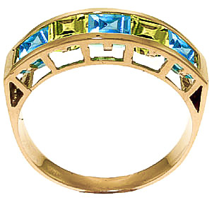Blue Topaz and Peridot Ring 2.25ctw in 9ct Gold