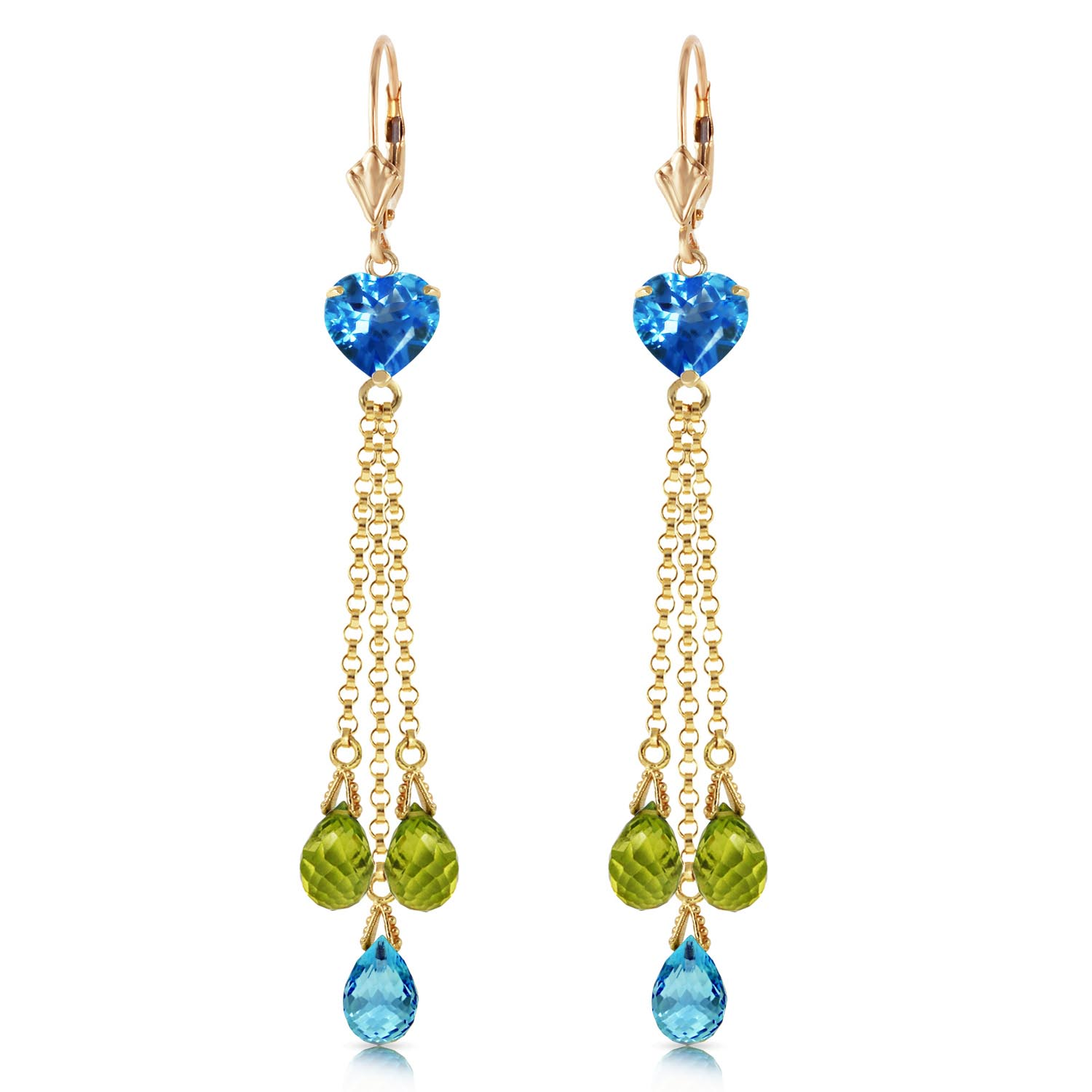 Blue Topaz and Peridot Vestige Drop Earrings 9.5ctw in 14K Gold