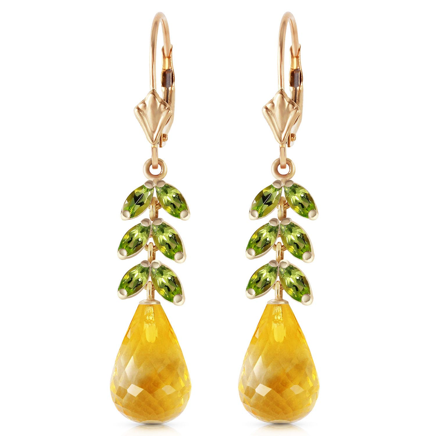 Citrine and Peridot Drop Earrings 11.2ctw in 14K Gold