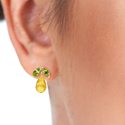 Citrine and Peridot Snowdrop Stud Earrings 3.4ctw in 9ct Gold