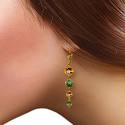 Citrine and Peridot Quadruplo Drop Earrings 7.8ctw in 9ct Gold