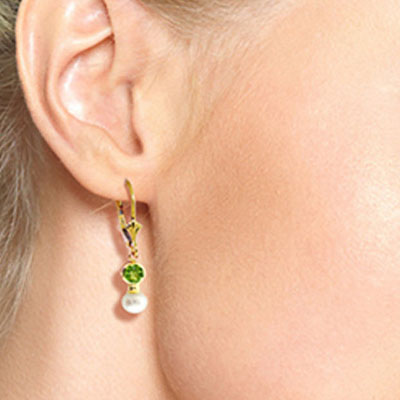 Pearl and Peridot Drop Earrings 2.7ctw in 9ct Gold