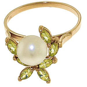 Pearl and Peridot Ivy Ring 2.65ctw in 9ct Gold