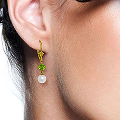 Pearl and Peridot Drop Earrings 5.0ctw in 9ct Gold