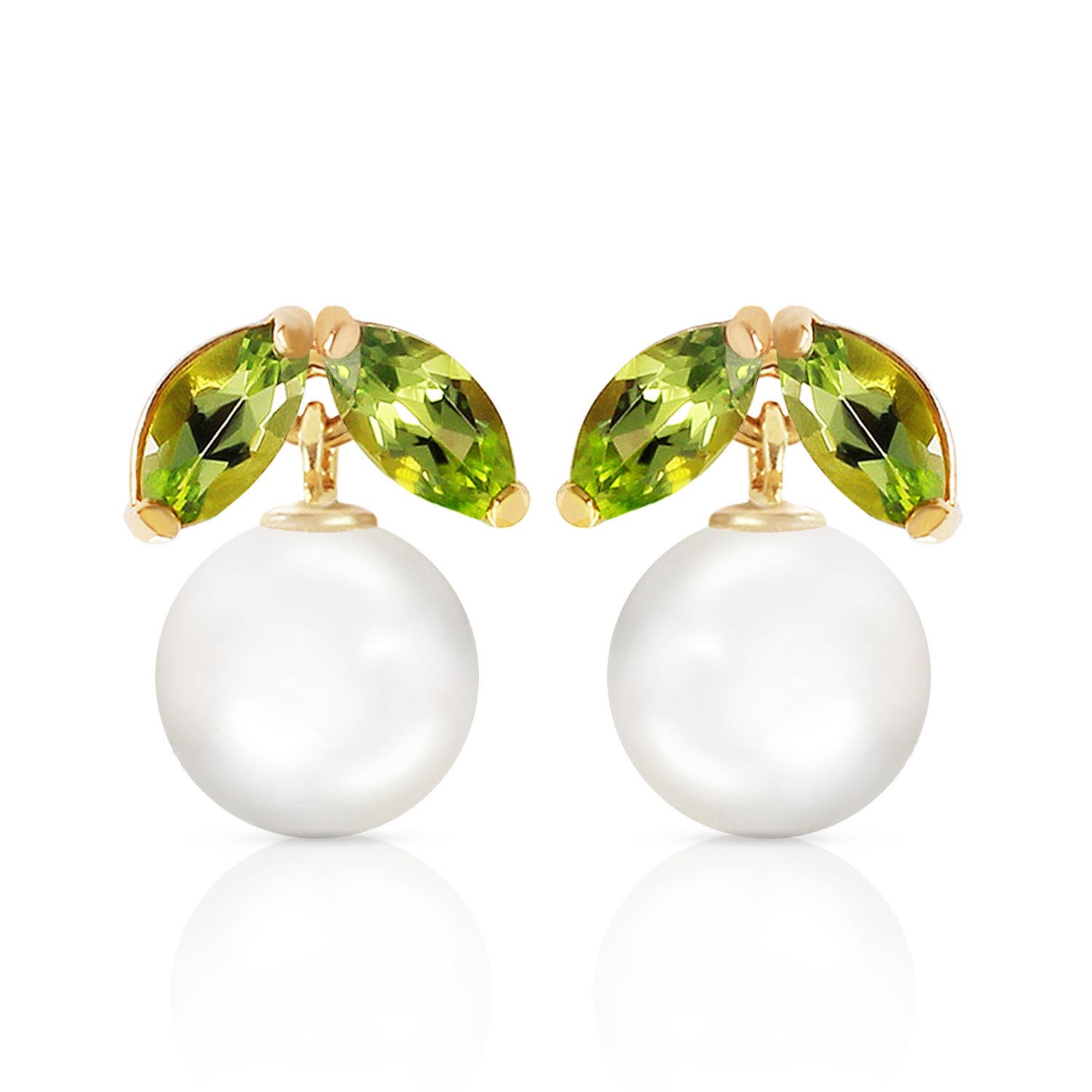 Pearl and Peridot Snowdrop Stud Earrings 4.4ctw in 9ct Gold