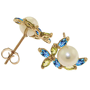 Pearl, Peridot and Blue Topaz Ivy Stud Earrings 3.25ctw in 9ct Gold