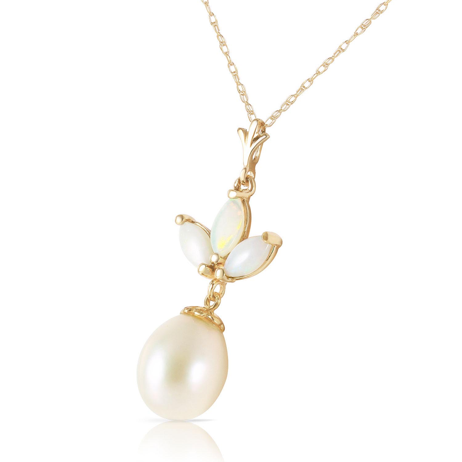 Pearl and Opal Petal Pendant Necklace 4.75ctw in 14K Gold