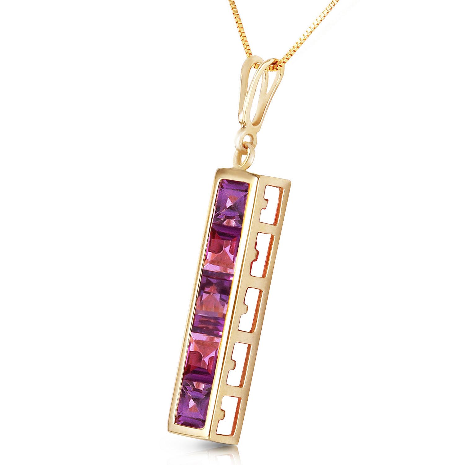 Amethyst Channel Set Pendant Necklace 2.25ctw in 9ct Gold