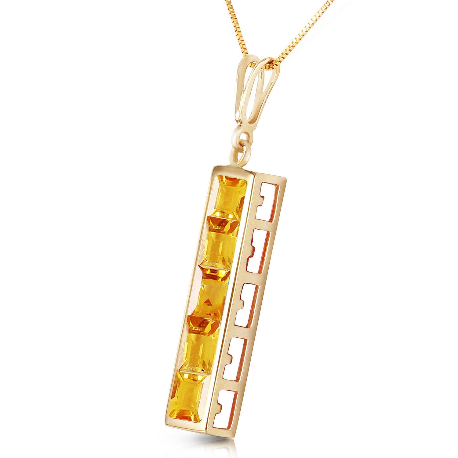 Citrine Channel Set Pendant Necklace 2.25ctw in 14K Gold