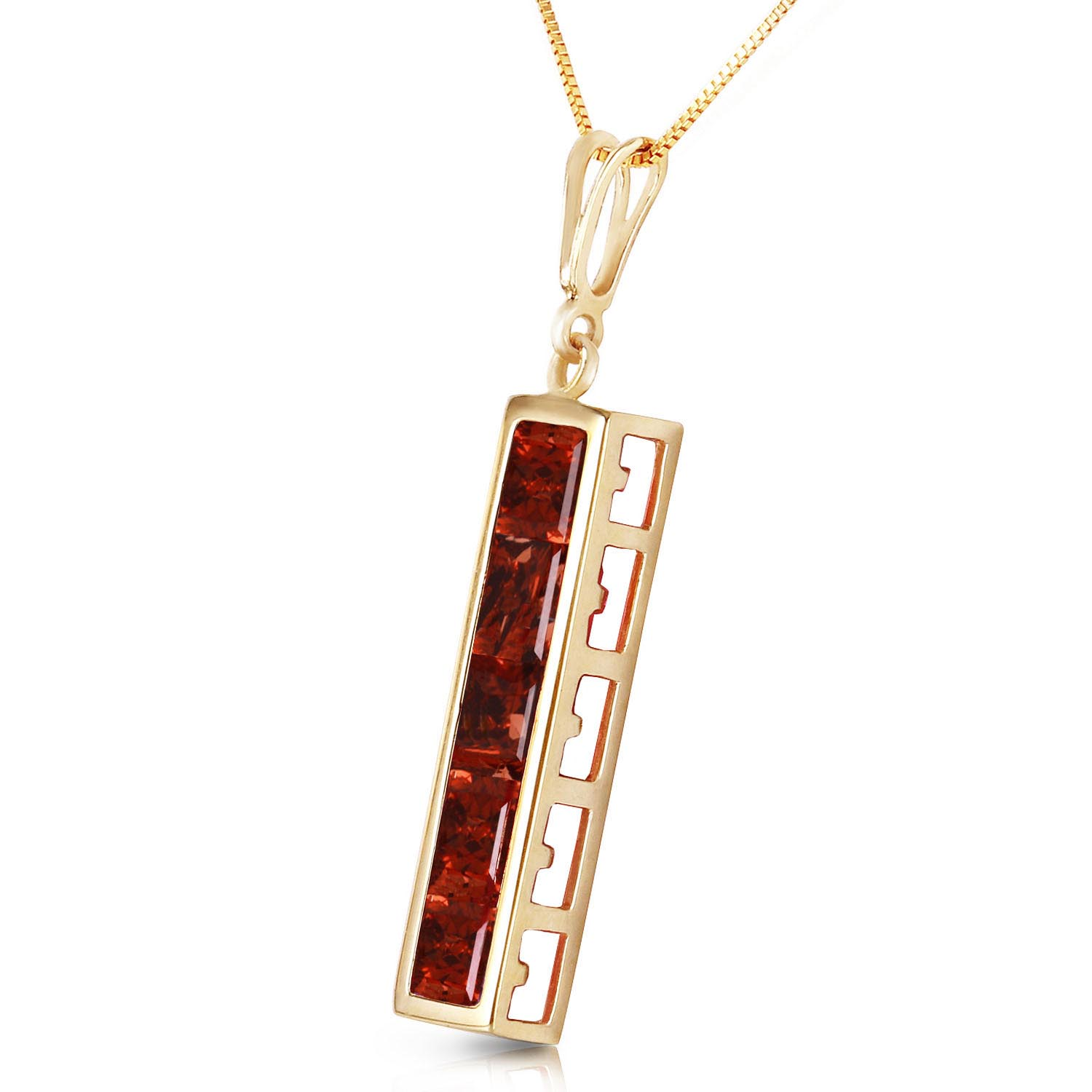 Garnet Channel Set Pendant Necklace 2.25ctw in 9ct Gold